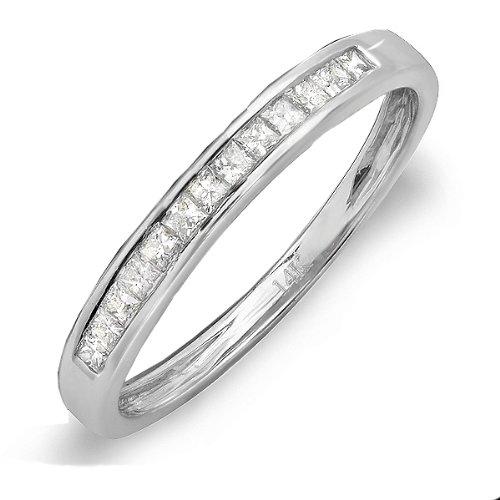 0.33 Carat (ctw) 14k White Gold Princess Diamond