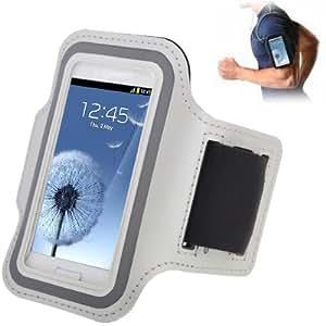Brassard sport tour de bras blanc pour Samsung Galaxy SIII mini/ i8190 , Galaxy Trend Duos / S7562 idéal pour les sportifs, course à pied ou salle de sport avec pochette pour clés