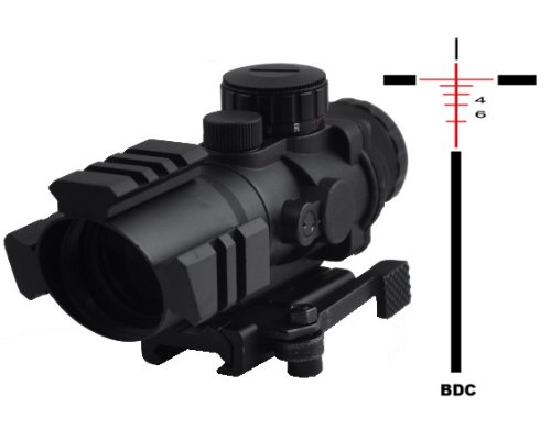 Tactical Scope With Three Rail On Top And Two Side And Eched Bdc Reticle