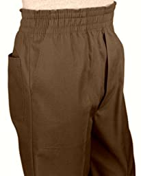 Mens Full Elastic Waist Pants with Mock Fly (M, Brown)