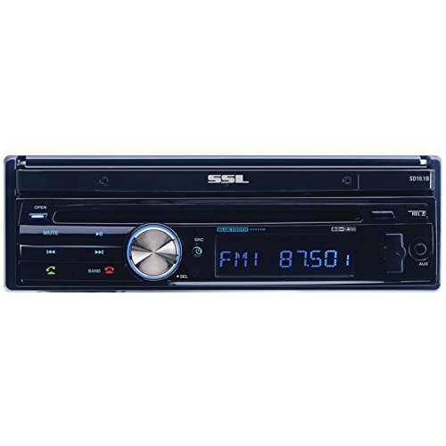SSL In-Dash Single-Din 10.1-inch Motorized Touchscreen Receiver with Bluetooth and Remote