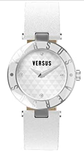 Versus by Versace Women's 3C71400000 Logo White Dial with Crystals Genuine Leather Watch
