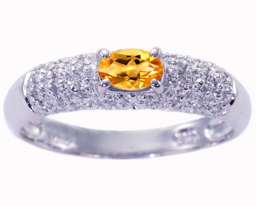 14K White Gold Petite Oval Gemstone and Diamond Promise Ring-Citrine, size7