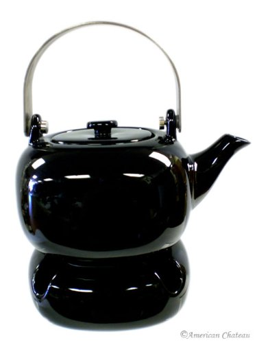 Modern Tea Warmer Candle & Black Porcelain Teapot with Infuser Pot Strainer