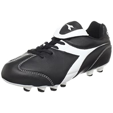 Diadora Brasil Soccer Cleat (Little Kid/Big Kid),Black/White,1 M US Little Kid