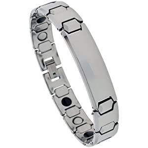 8 3/4 in. Tungsten Carbide Magnetic ID Bracelet, 1/2 in. (12mm) wide