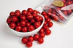 Red Foiled Milk Chocolate Balls (1 Pound Bag)
