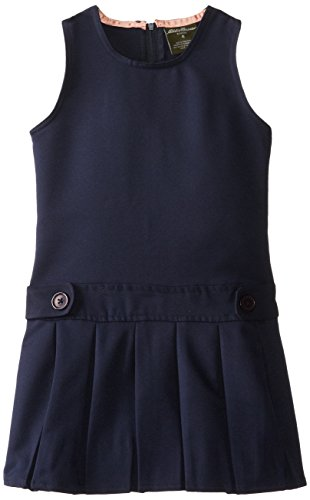 Eddie Bauer Little Girls Pleated Skirt Jumper, Navy,4