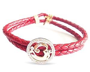 Om Ganesh 14k Gold Leather Bracelet with 0.33 carats Diamonds