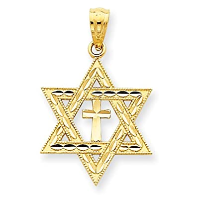 14k Yellow Gold Diamond-cut Star of David w/Cross Pendant