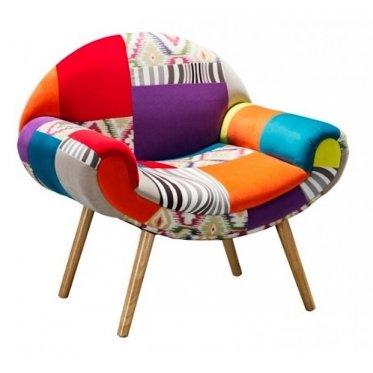 Armchair Patchwork Colourful Hippy Style, Elegant Design