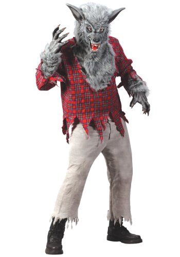 Funworld Mens Scary Grey Werewolf Theme Party Fancy Dress Halloween Costume