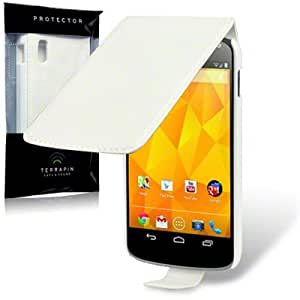 Google Nexus 4 Premium PU Leather Slim Fit Flip Case / Cover / Pouch / Holster - White