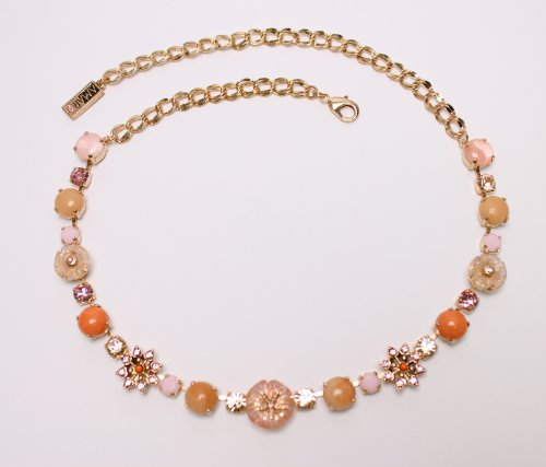 24K Rose Gold Plated Irresistible Necklace from 'Love and Tenderness' 2013 Collection Designed by Amaro Jewelry Studio Embellished with Rose Quartz, Pink Aventurine, Pink Mussel and Swarovski Crystals