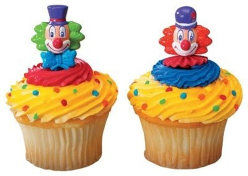 24 Count Circus Clown Cupcake Picks Toppers Big Top Carnival Party Supplies - 1