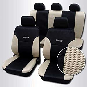 Car Seat Cover Set Black Beige Design 75 Amazoncouk