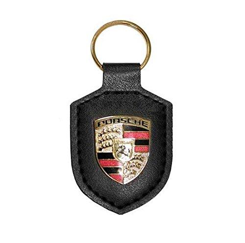 GENUINE PORSCHE Key Fob - Black Leather with Enameled Porsche Crest