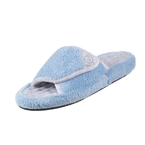 Isotoner Women's Microterry Pillowstep Spa Slide w/Memory Foam,Blue Moon,US 5.5-