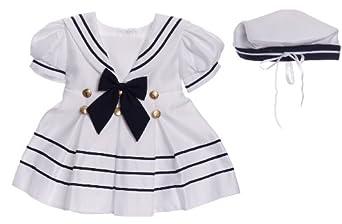 Classykidzshop White Girl Sailor Dress with Navy Blue Strip 2T