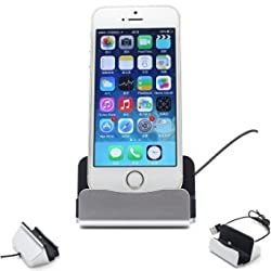MOTONG New Desktop Dock Charging Station Data Sync & Charger Cradle Mount Docking Station Charging adapter Charge Dock Charger Dock for iPhone 6/5s/5c/5-Silver