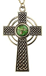 Large Celtic Cross with 12mm Persian Green Copper Turquoise Gemstone on Rolo Chain