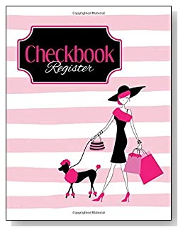 Pink Poodle Shopper Checkbook Register - A beautiful book with wide lines to easily track all your checking account activity without having to write tiny and cram everything into those little check register booklets.