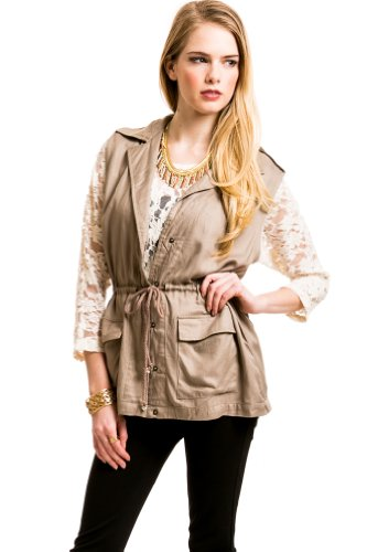 DrawstrIng Safari Vest In Khaki