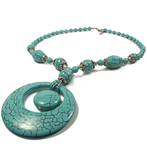 Turquoise Beads Necklace and Pendant -Double Circle Pendant Accent