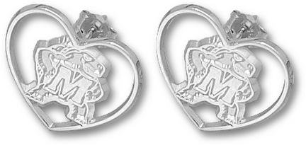 Maryland Terrapins New Terrapin Heart Post Earrings - Sterling Silver Jewelry