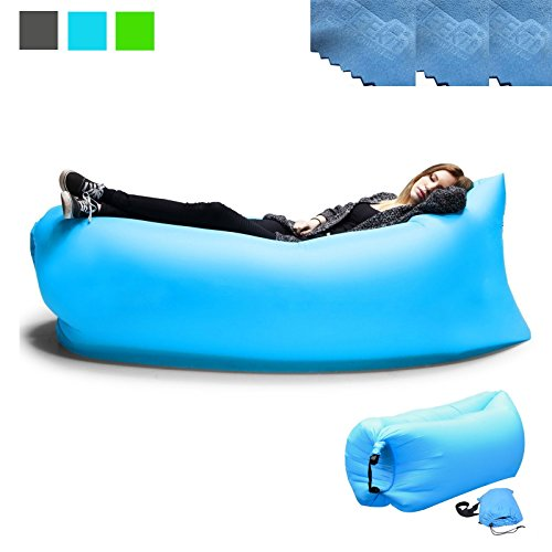 3 EEEKit Outdoor Convenient Inflatable Lounger Nylon Fabric Sleeping Compression Air Bag Hangout Bean Bag Portable Dream Chair for Outdoor Gathering (Blue)
