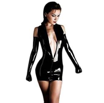 Amazon.com: Shiny Black Dominatrix Dress Mini Skirt with Long Gloves