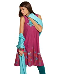 AIMI Women's Cotton Butterfly Print Sleeveless Pink Kurta