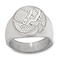 "Hot Sale San Antonio Spurs 3/4"" ""Logo Basketball"" Men's Ring - Sterling Silver Jewelry (Size 10 1/2)"