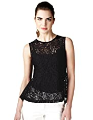 Limited Collection Floral Lace Shell Peplum Top