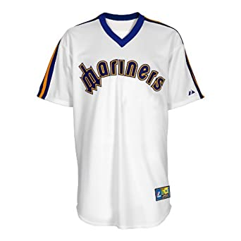 MLB Seattle Mariners 1981-1985 Cooperstown Short Sleeve Synthetic Replica Baseball Jersey, White, Small