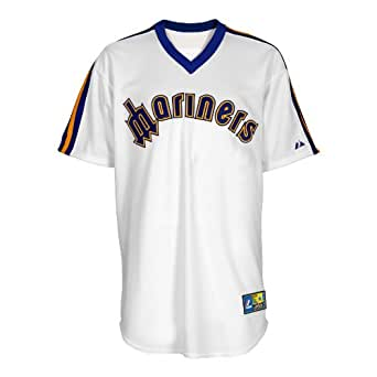 MLB Seattle Mariners 1981-1985 Cooperstown Short Sleeve Synthetic Replica Baseball Jersey, White, XX-Large