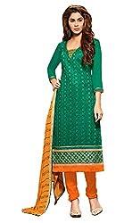 Jiya Presents Embroidered Chanderi Dress Material (Green,Orange)