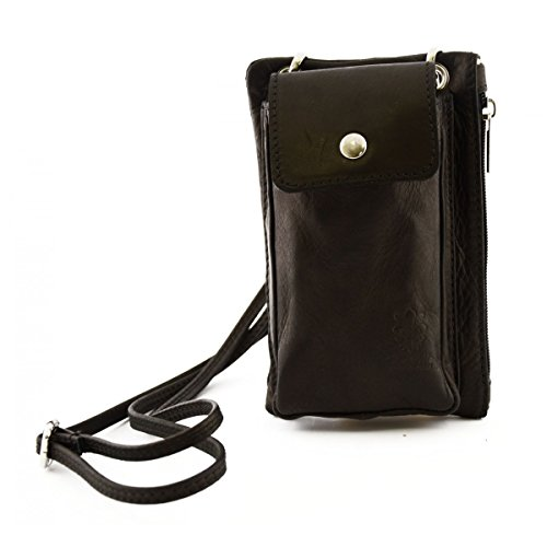 Mini Borsello Unisex Con Tasca Per Smartphone Colore Nero - Pelletteria Toscana Made In Italy - Borsa Uomo