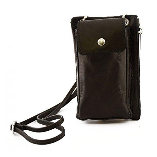 Mini Borsello Unisex Con Tasca Per Smartphone Colore Nero - Pelletteria Toscana Made In Italy - Borsa Uomo