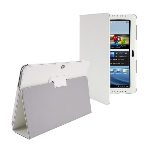 White Premium Luxury PU Leather Folio / Flip Typing Case Wallet Cover with Stand Skin For Samsung Galaxy Tab 1 10.1