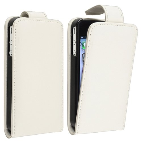 White Leather Case with FREE Reusable Screen Protector compatible with iPhone® 4 - AT&T / 4 - Verizon / 4S