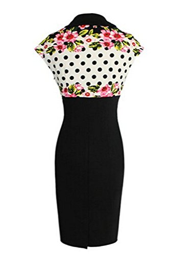 Viwenni Women's Vintage Colorblock Floral Party Cocktail Evening Pencil Dress 1
