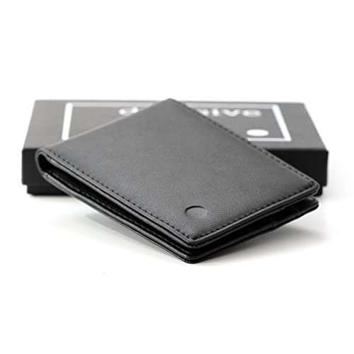decisive wallet   slim wallet for men   no coin pocket   small, light and slim   black