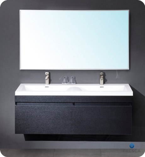 Fresca FVN8040GO Largo Gray Oak Modern Bathroom Vanity w/ Wavy Double Sinks