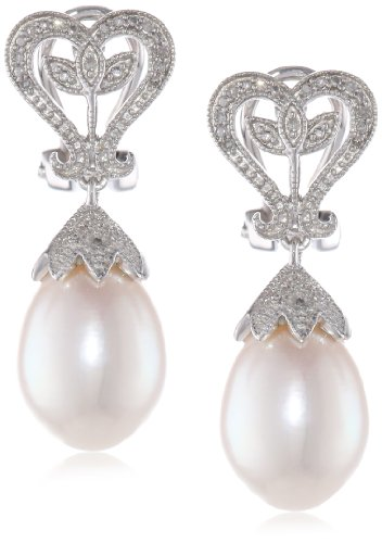 Sterling Silver 10-10.5 MM Freshwater Cultured Pearl and Diamond Drop Earrings, (0.06 Cttw, G-H Color, I2-I3 Clarity)