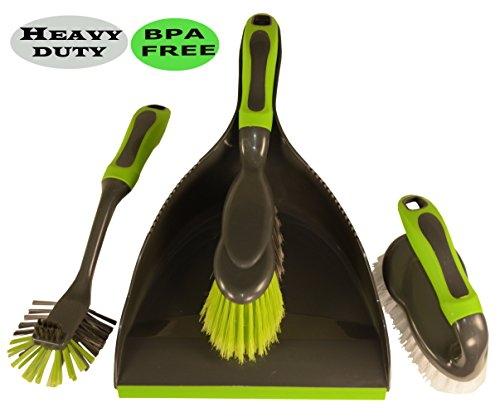Alpha Omega Home Cleaning Brush Set: Dustpan & Brush Set, Household Scrub Brush and Pan Cleaning Brush (Dish Cleaning Brush) - Strong and Comfortable with Non-slip Handle, Ergonomic Design (Broom With Cleaning Dust Pan compare prices)