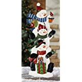 Collections Etc Stack Of Snowmen Holiday Outdoor Garden Stake