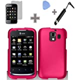 Rubberized Solid Rose Pink Color Snap on Hard Case Skin Cover Faceplate with Screen Protector, Case Opener and Stylus Pen for Huawei Fusion 2 U8665 - AT&T