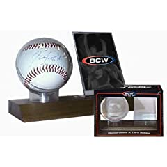 Buy BCW Woodbase Baseball & Card Holder (Real Walnut) - Combo Ball & Card Display... by BCW