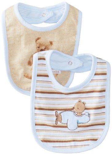 Absorba Baby-Boys Newborn Bear 2 Pack Bib Set, Blue/Khaki, One Size front-966115